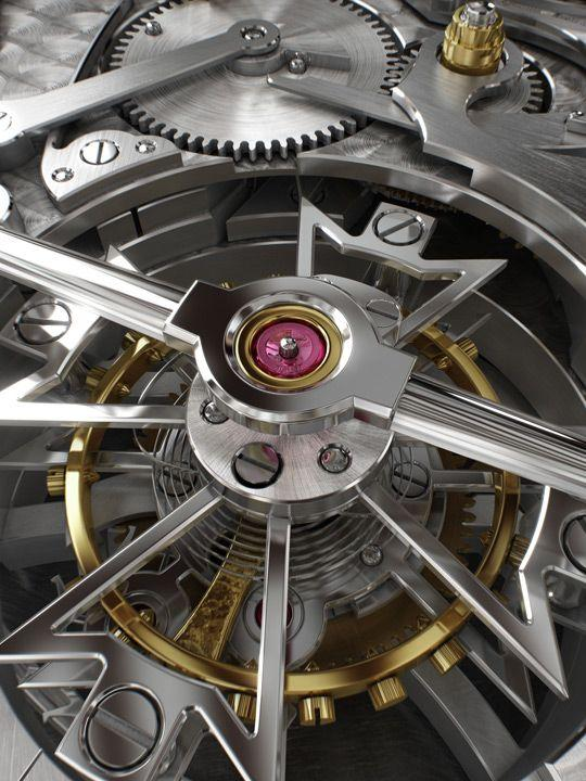 Polished Vacheron Constantin tourbillon cage and bridge