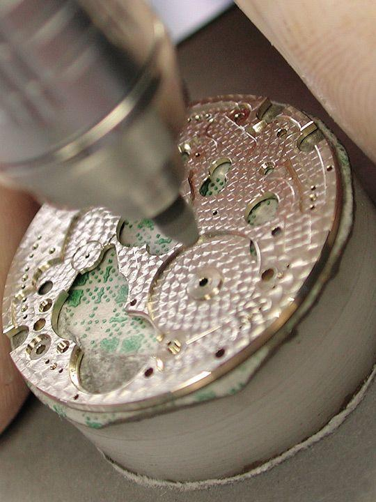 Close-up of perlage on a Patek Philippe base plate