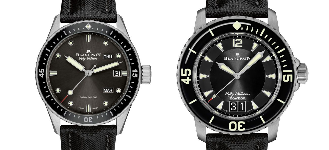 Blancpain Bathyscaphe Annual Calendar (left) and Fifty Fathoms Grande Date