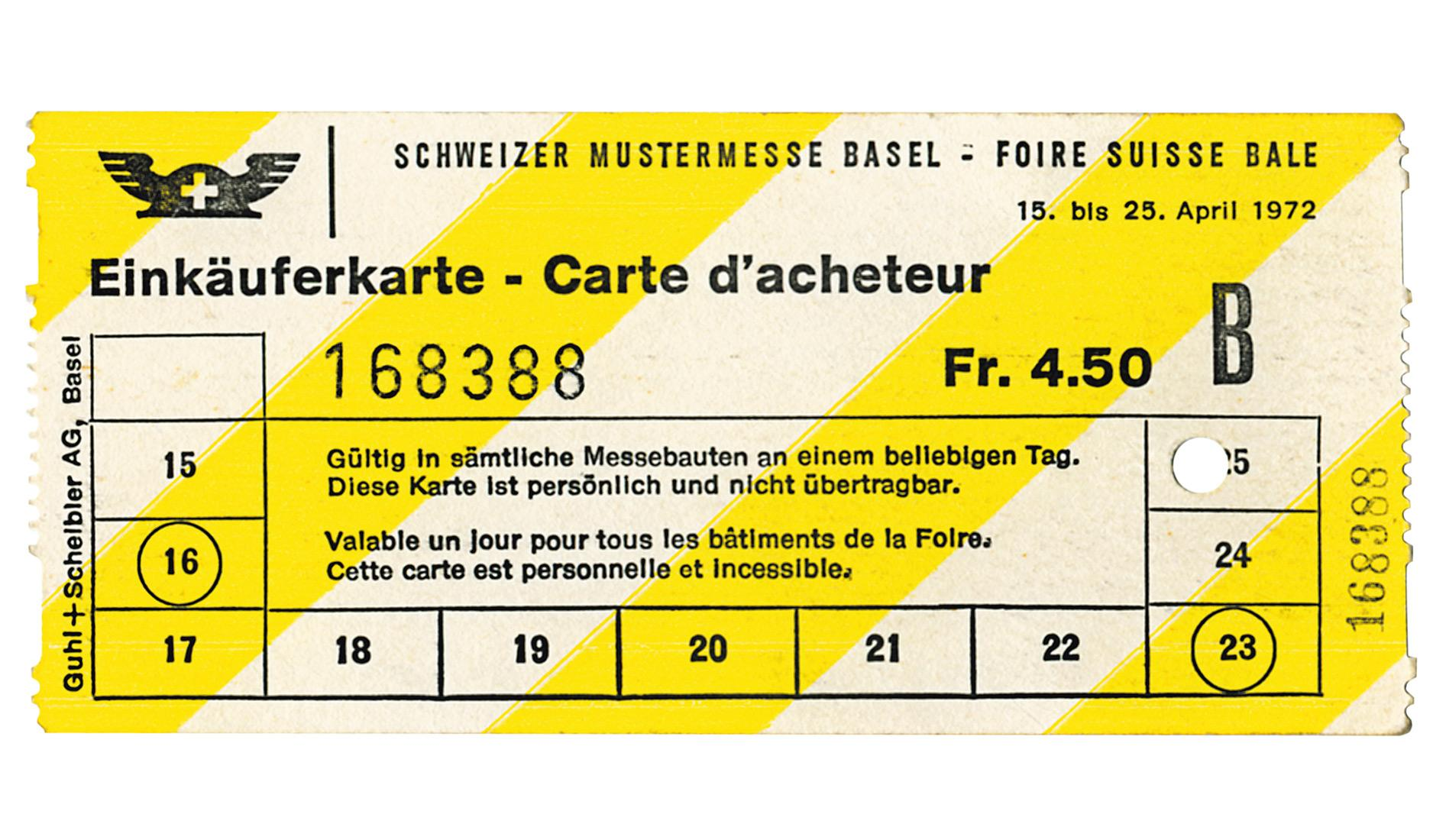 Baselworld ticket from 1972