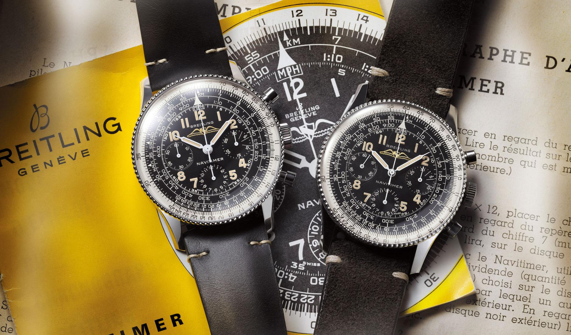 Navitimer Ref. 806 1959 Re-edition (left) and the original