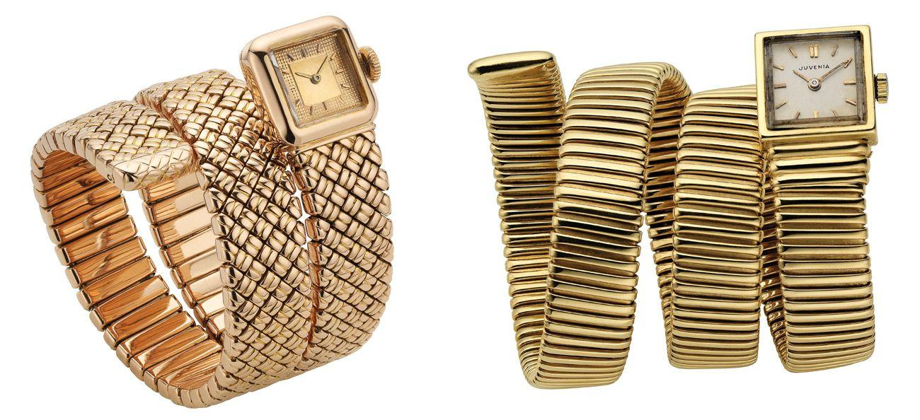 Serpenti Tubogas bracelet-watch in pink gold (left) and gold, both from 1949