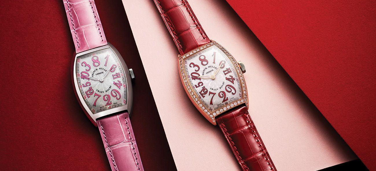 Franck Muller Crazy Hours in stainless steel (left) and rose gold with diamonds