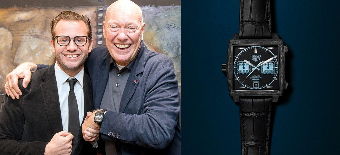 Biver with George Bamford, TAG Heuer Monaco 'Bamford' automatic chronograph