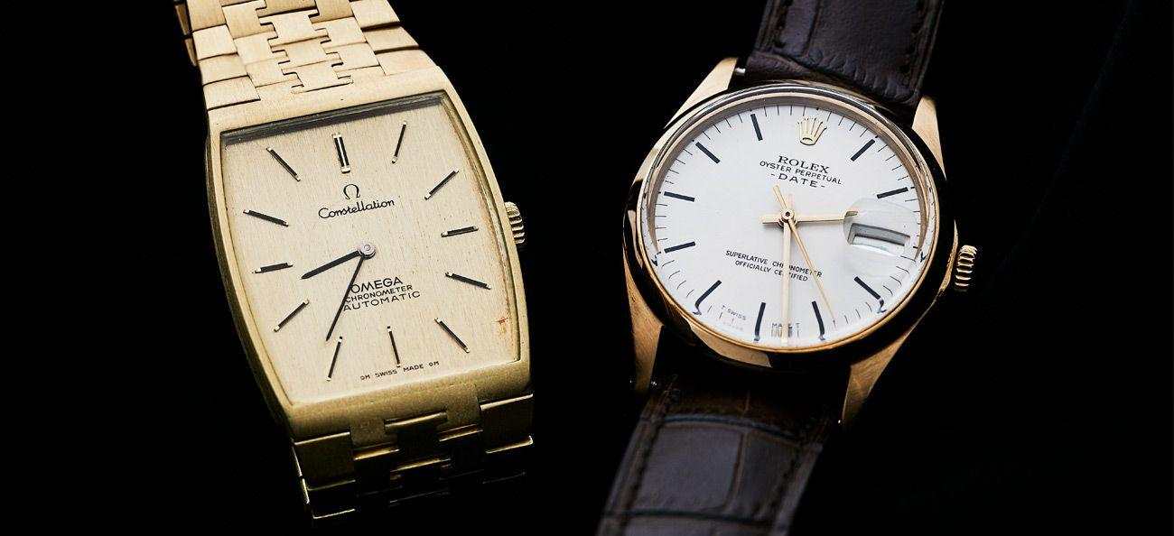 Vintage Omega and Rolex watches