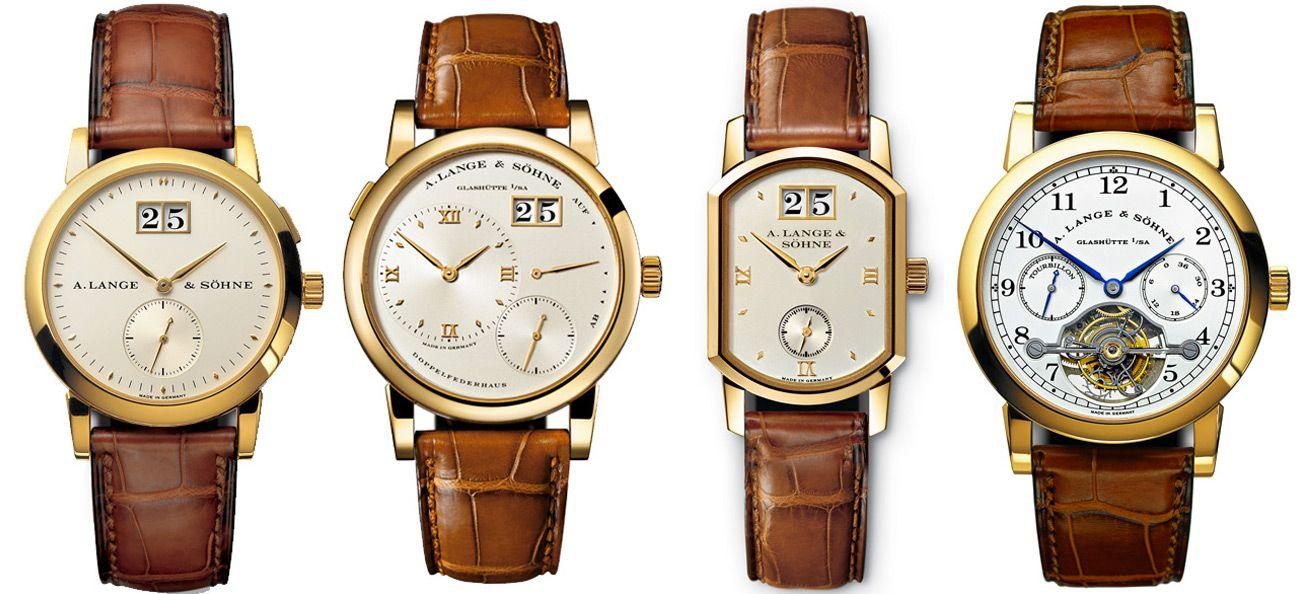The first four wristwatches created by A. Lange & Söhne in 1994.
