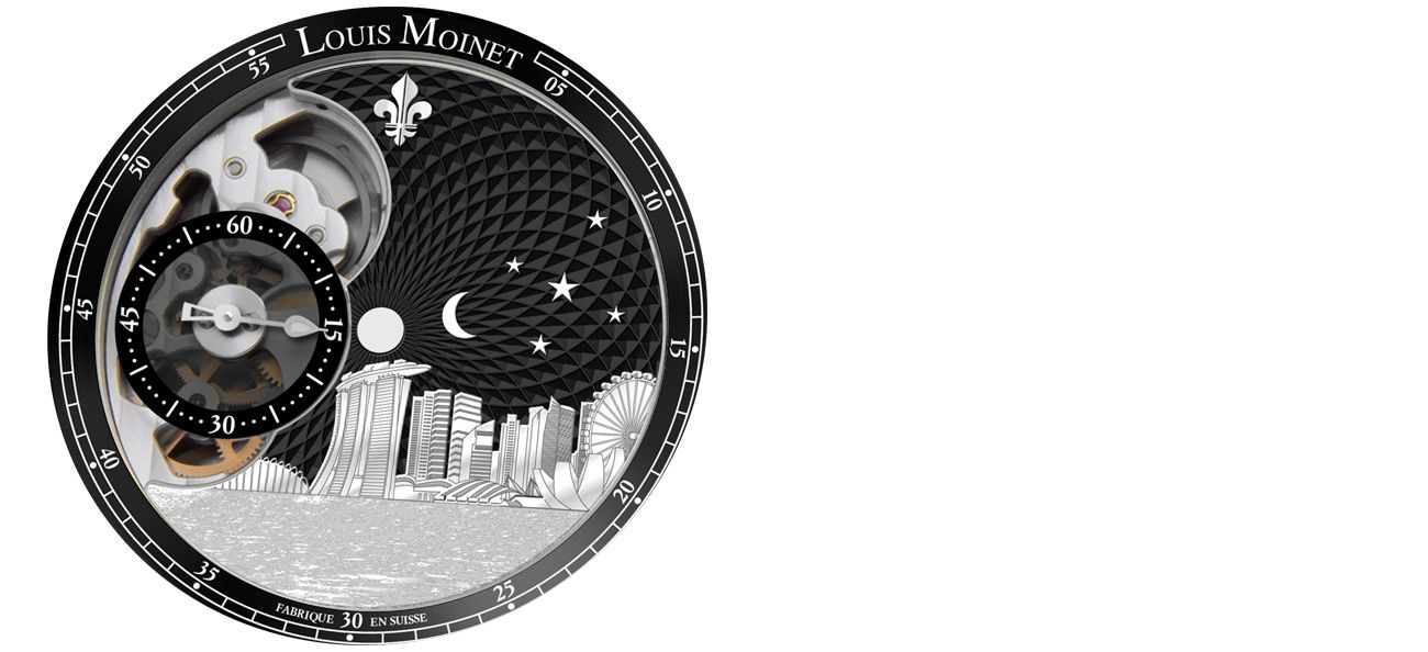 Louis Moinet Singapore Edition dial