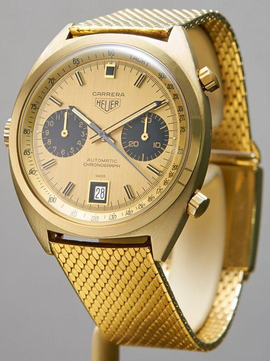 1970 18K yellow gold Heuer Carrera