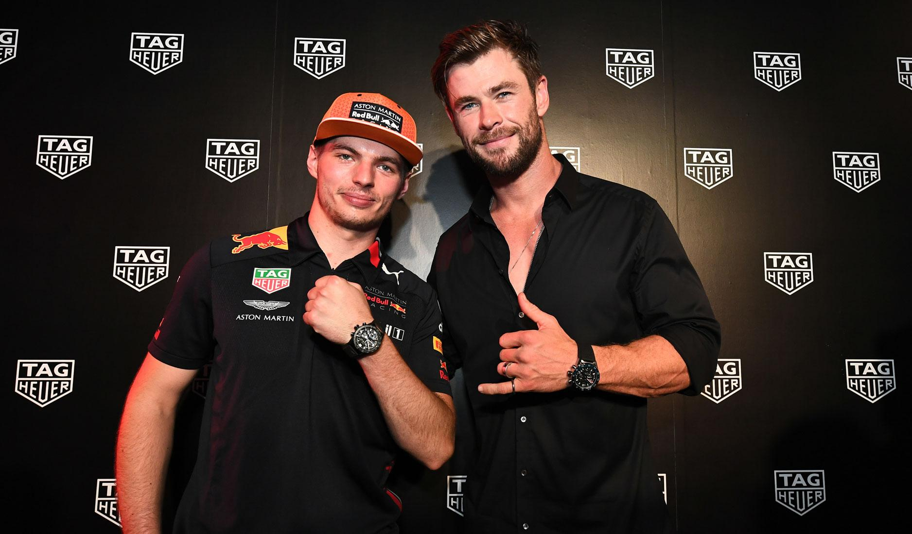 Max Verstappen and Chris Hemsworth
