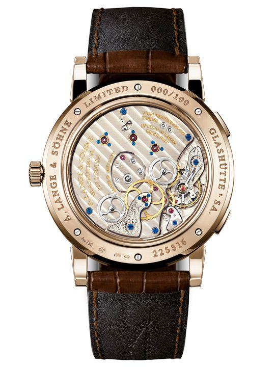 Sapphire caseback of the Lange 1 Time Zone revealing the movement inside