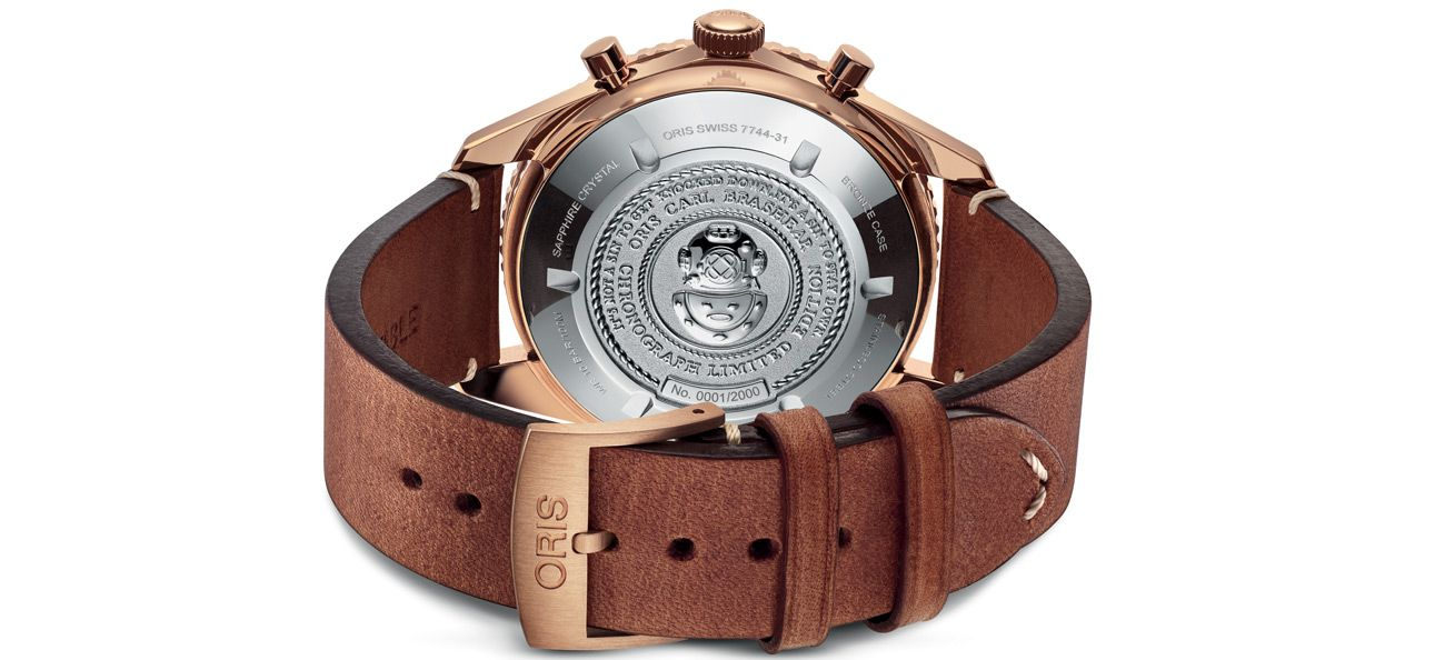 Caseback of the Oris Carl Brashear Chronograph Limited Edition
